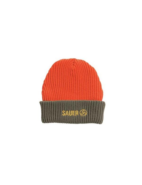 Čepice Sauer - oboustranná, pletená, zelená/oranžová s Logo Sauer