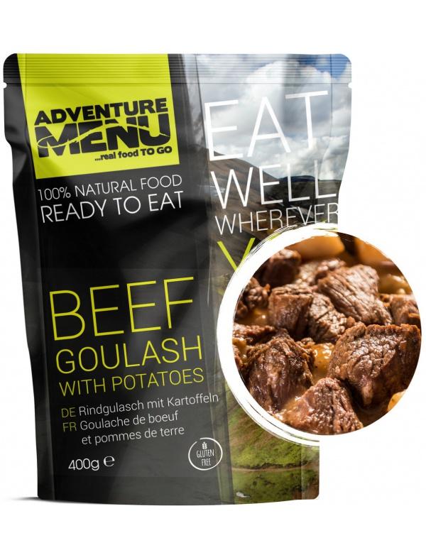 Jídlo AM * Hovězí guláš s bramborem, 400g, samoohřev, Adventure Menu