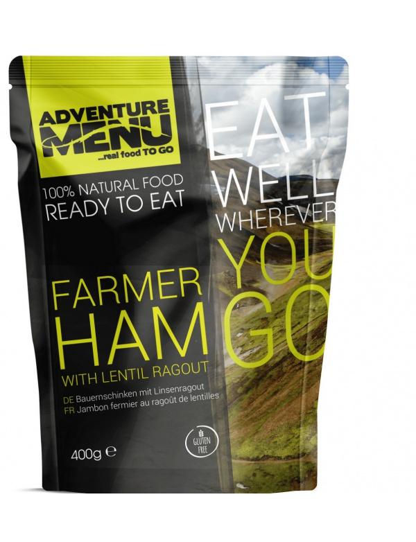 Jídlo AM * Farmářská šunka s čočkovým ragú, 400g, samoohřev, Adventure Menu