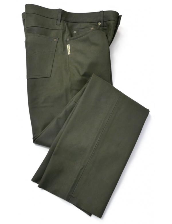 Kalhoty Fuente kožené - zelené (501BUOL)