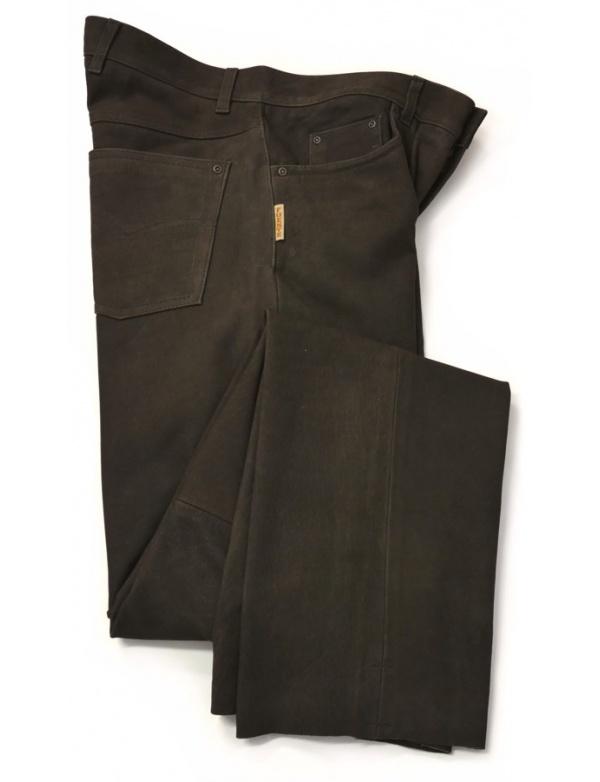 Kalhoty Fuente kožené - tmavě hnědé (501BUBR)