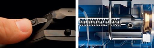 """DURA SAFE """"kombinuje"""" klasický systém, jaký  známe u většiny opakovacích kulovnic a hřbetního napínání s velmi efektní blokací přímého úderníku."""