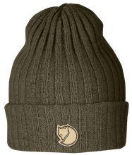 čepice FJÄLLRÄVEN - Byron Hat (77388), pletená vlněná, barva 633 - Dark Olive - jedna velikost