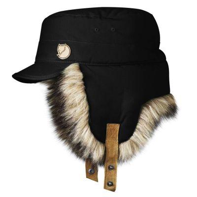 čepice s klapkami na uši Fjällräven - Woodsman Cap (77301), umělá kožešina, barva 550-černá