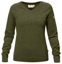 dámský svetr FJÄLLRÄVEN - Sörmland V-neck Sweater (90177), merino, barva 633 - Dark Olive