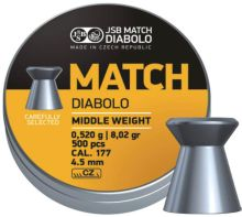 diabolo JSB MATCH - Yellow Middle Weight, r. 4,5mm/ 500ks, hmot. 0,520g
