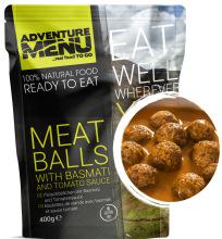 jídlo Adventure Menu - masové koule s basmati a rajskou omáčkou 400 g, 100% maso, samoohřev