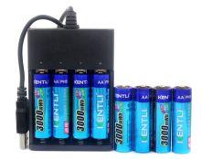 nabíječka KENTLI - USB Charger a 8x dobíjecí baterie Kentli