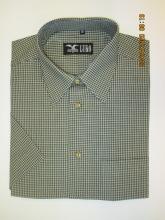 pánská košile Luko (074137) - kostkovaně zelená s krátkým rukávem