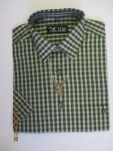pánská košile Luko (124118) - kostkovaně zelená s vyšívkou a krátkými rukávy