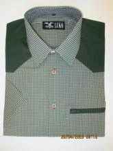 pánská košile Luko 154120 - jemná kostička, sytě zelená ramena, kapsička na zip