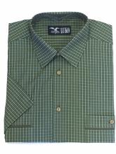 pánská košile Luko (174110) - zelená s jemným kostičkováním a krátkým rukávem