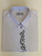 pánská košile Luko (174112) - bílá s výšivkou dub a krátkým rukávem, vel. 44