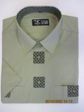 pánská košile Luko (194115) - zelená se zdobením a krátkým rukávem