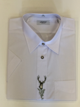 pánská košile Trapper - Eugen bílá s výšivkou jelen a ornament s krátkým rukávem, vel. 43