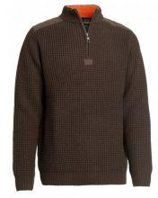 pánský svetr CHAVALIER - Rosebud Wool Pullover, vlněný s límcem, hnědý (5467B)