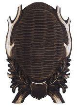 štítek/ podložka PR 16 - jelení na seříznutou lebku, otevřené provedení 4-listé s erbem, rozměr 24x38 cm
