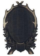 štítek/ podložka - PR 18 jelení pod celou lebku, uzavřené provedení 6ti-listé s erbem, rozměr 28x42 cm
