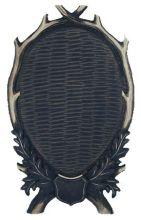 štítek/ podložka - PR 19 jelení vysoký pod celou lebku, uzavřené provedení 6ti-listé s erbem, rozměr 31x52 cm