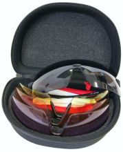 střelecké brýle EVO - Matrix 4, 4 výměnná skla + pouzdro (šedá, žlutá, oranžová, fialová)