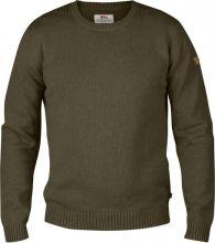 svetr FJÄLLRÄVEN - Övik Knit Crew (82409), pletený, ke krku, barva 633 - Dark Olive