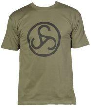 zelené triko Sauer - velké černé logo na prsou